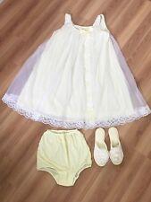 VINTAGE Lingerie Set Pale Yellow Babydoll Nightie Granny Panties & Slippers