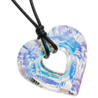 Heart Pendant Leather Necklace Adjustable made with Swarovski Elements Crystal