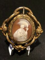 Antique Large Spinning Bezel Hand Carved Shell Cameo Person Feeding Dragon Neck.