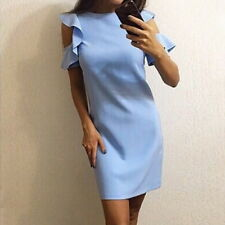 Summer Women Ruffles Crew Neck Bodycon Dress Casual Slim Beach Dress A-Line CDO