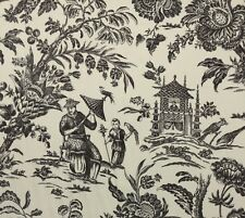 WILLIAMSBURG ASIAN ARCADIA BLACK ORCHID D4144 TOILE 100% LINEN FABRIC BY YARD