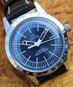 Luxury Vintage Roamer ST96 17Jewels Hand Wind Blue Dial Men's Swiss Wristwatch