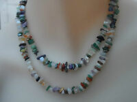 VINTAGE NECKLACE Multi Natural Gems BEADS