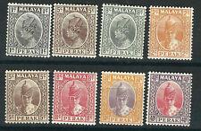 Malaya Perak Stamps 8 Different MLH F/VF 1935-41 SCV $60.00
