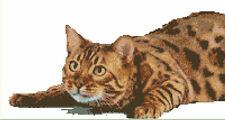 CROSS STITCH KIT -BENGAL  CAT  35 X 17 CM