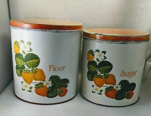 Vintage Strawberry Tin Canisters Sugar & Flour