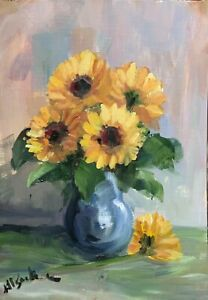 A4 Print of Original oil painting art sunflowers impressionism shabby chic
