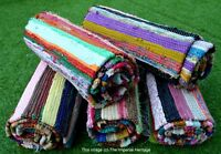 Handmade Indian Chindi Carpet Hand Woven Dari Decor Floor Runner Multi Stripe