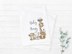 Safari Animals Personalised Fleece Baby Girl or Boy Blanket Baby Shower Gift