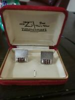 """Vintage Mr """"Z"""" Zimmerman's Atlanta Cuff Links with red stones"""