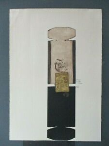 """Dževad Hozo, """"THE LITTLE and SHADOW"""" Etching w/ Aquatint 38/50 1967 Gold Accent"""
