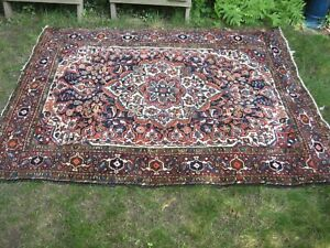 """VINTAGE HAND MADE ORIENTAL RUG 4'11""""x6'7""""VG CONDITION TRADITIONAL PATTERN"""