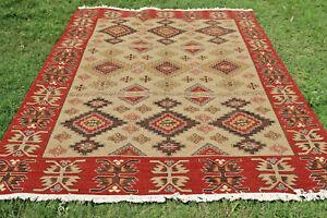 Soumak Flat-Weave Geometric Turkish Kilim Afghan Oriental Area Rug 9x12 Carpet