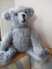 Teddybär Teddy Mohair ? Handarbeit 38 cm blau grau Brummstimme