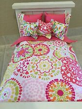 18 Inch Doll Bedding  6 Piece Set Flower Burst Handmade To Fit American Girl