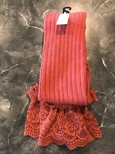 NEW Simply Noelle Rust Red Boot Socks with lace tops