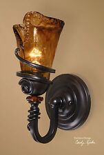 "VITALIA FRENCH MISSION RUBBED BRONZE METAL GLASS ELECTRIC 14"" WALL SCONCE LIGHT"