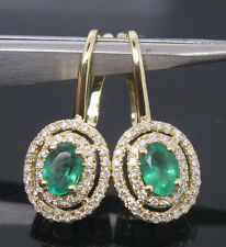 2.59CT SOLID 14Kt YELLOW GOLD NATURAL DIAMOND GORGEOUS GREEN EMERALD EARRING