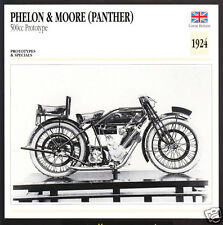 1924 Phelon & Moore (Panther) 500cc Prototype Motorcycle Photo Spec Info Card