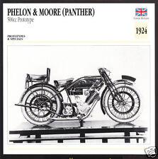 1924 Phelon & Moore (Panther) 500cc Prototype Motorcycle Photo Spec Info Card