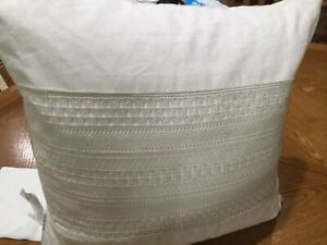 """Ralph Lauren Devon Crochet Lace Appliqué Square Decorative Pillow, Ivory 18""""x18"""""""