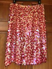 Collette Dinnigan Silk Pink Red Sequined Skirt M