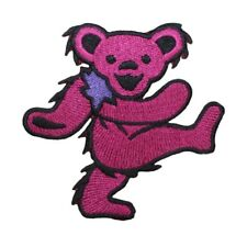 Grateful Dead Dancing Bear Pink 2 Inch Embroidered Iron On Applique Patch p1210
