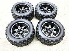 1/10 RC Monster Truck Wheel Tires (4) Fit HSP RedCat Tamiya etc. PRE GLUED