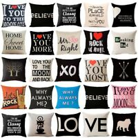 Pop Words Cotton Linen Pillow Case Home Decor Sofa Throw Cushion Cover 18x18""