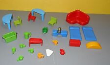 Playmobil School Playroom Miniature Dollhouse Toys Half Desks w/ Chairs - Sofa