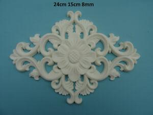 Decorative large flower and scrolls centre applique resin furniture moulding M2