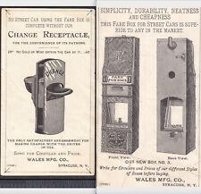 Street Car Fare Box 1880 Trolley Change Receptacle Wales Mfg Syracuse Train Card