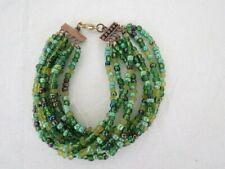 Handmade Bracelet Seed Beads Size 8 1/2 Layer Strand Green