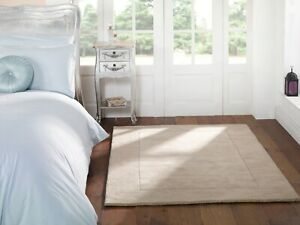 TUSCANY SIENA WOOL BORDERED SUPER SOFT SMALL LARGE NATURAL BEIGE RUG & RUNNER