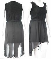 Ladies New Gothic Chiffon Dipped Hem Dress Lined Lace Top Size 22 24 26 *LICK*