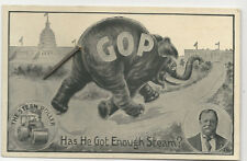 1912 William H. Taft GOP Elephant Charging White House Wire Tail Postcard