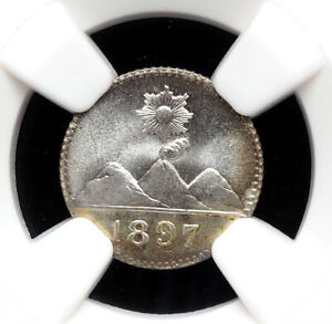 GUATEMALA. 1897, Silver 1/4 Real, Gem BU - NGC MS67