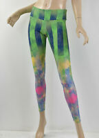 ONZIE Green Stripe & Abstract Colorful Cloud Print Yoga Workout Leggings XS