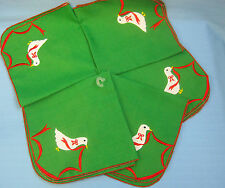 5 Cloth Napkins Christmas Holiday Goose Red Green White Applique Design