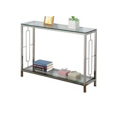 Athena Living Room Furniture Silver Metal Chrome Glass Accent Console Sofa Table