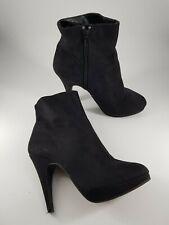 H&M size 6 (39) black faux suede side zip platform stiletto ankle boots
