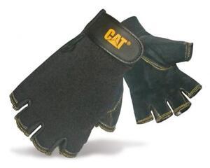 CAT Caterpillar Fingerless Gloves. Pigskin Leather, Spandex Back. M or L