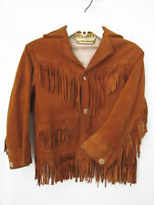 DAVY CROCKETT 1950's CHILD'S SUEDE JACKET, FRINGE, LINED; MEXICO COLLECTIBLE sz4