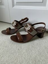 Tory Burch Women's Size 7M Brown Leather Block Heel Sandals Gold Tone