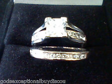 2 CT PRINCESS LCS DIAMOND WEDDING ENGAGEMENT BAND RING  SET SZ 10  + GIFT!
