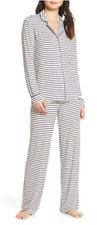 NWT Nordstrom Lingerie MOONLIGHT PAJAMAS Pants Set PINK CRYSTAL LOVELY STRIPE L