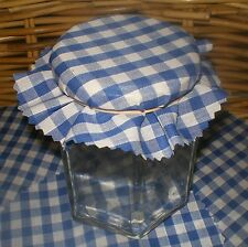 jam covers x 30 gingham fabric 2 sizes avail royal BLUE  FREE bands