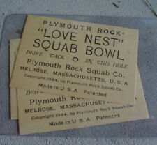 Lot of 3 1934 Plymouth Rock Love Nest Squab Bowl Tickets