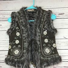 Miss Me Vest Faux Fur/Suede Juniors Size Small Floral Embroidered Beaded Boho