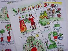Linen Union Glass/Tea Towel  55/45   Dictionery of Gardening Humorous  New